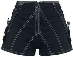 Schwarze Shorts mit Schnürung und langem Reißverschluss