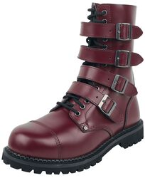 Dark-Red Lace-Up Boots with Buckles