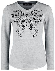 Grey Long-Sleeve with Print and Glitter Stones