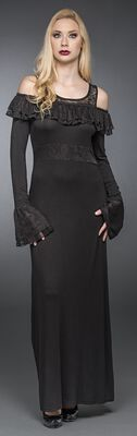 Long Dress with Ruched Decolletage
