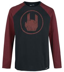 Black Long-sleeve Shirt with Rockhand Print and Raglan Sleeves