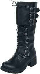 Black laced boots with buckles