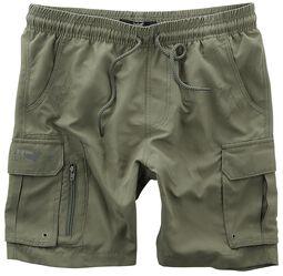 Olive swim shorts with many pockets