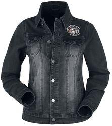 Black Denim Jacket with Wash and Print