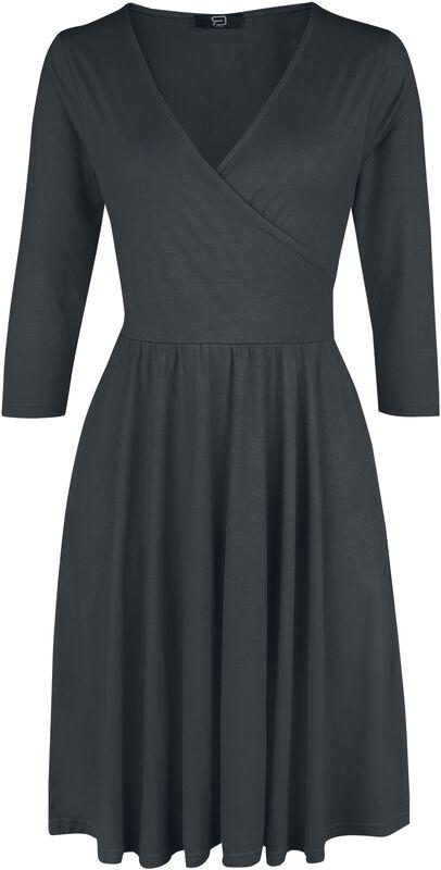 Black Dress in Wrap Look