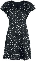 Satin Dalmatian Wrap Frill Sleeve Dress